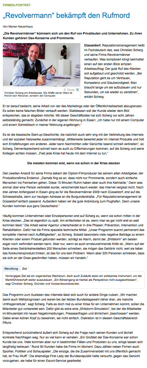 Portrait REVOLVERMÄNNER AG | Westdeutsche Zeitung